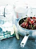 Saucepan of uncooked cherries