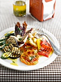 Thinly sliced grilled vegetables