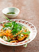 Carrot,mushroom,chive and parsley salad
