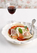 Ricotta raviolis with strawberry puree