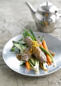 Beef fillet with young vegetables and tea-flavored sauce