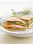 Salmon, rocket and aioli pitta sandwich