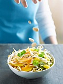 Beansprout,fresh fruit and almond salad