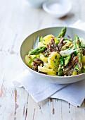 Beef, potato and green asparagus salad