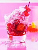 Summer fruit sherbet ice with ginger