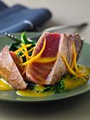 Tuna a la plancha, orange and Espelette pepper butter sauce