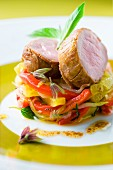 Pork filet mignon and vegetable timbale