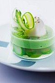 Egg in aspic with green asparagus puree