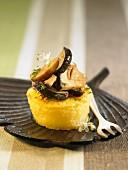 Semolina and boletus mushroom appetizer