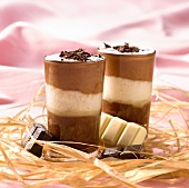 Three chocolate mousse Verrines