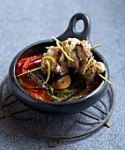 Lamb skewers with vegetable Tian