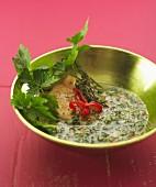 Fisch mit Sauce Chien (Kräuter-Chili-Sauce, Antillen)
