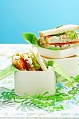 Salmon white bread sandwichs