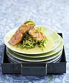 Salmon with coconut milk, cuury and lime sauce