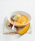 Melon soup with ginger sherbet ice