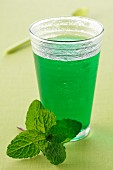 Glass of mint cordial