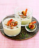 Cucumber mousse with shrimps