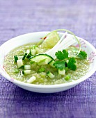 Cold cucumber and green apple soup