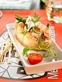 Big prawn and monkfish open sandwich