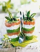 Salmon,asparagus and cream cheese Verrines