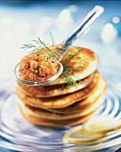 Salmon Tartare with blinis