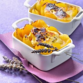 Apricot,brown sugar and lavander gratin