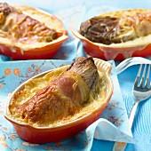 Red chicory, raw ham and Ossau iraty cheese-topped dish