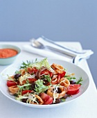 Tomato, squid and anchovy salad