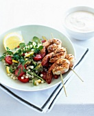 Tapioca and tomato salad,grilled shrimp brochettes