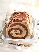Chocolate,chestnut and whisky rolled log cake