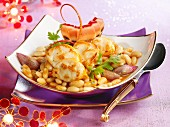 Spiny lobster Cassoulet with shallots