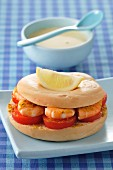 Shrimp,curry and tomato bagel sandwich