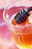 Pot of honey and wooden honey spoon