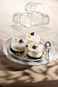 Fromage blanc mousse with violet syrup