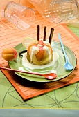 Semolina and apricot pudding with custard