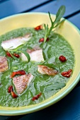 Cream of zucchini soup with scorpion fish