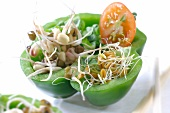 Raw green pepper stuffed with shoots