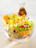 Pansy, nasturtium, rosemary and jasmin flower sring salad