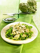 Artichoke salad with ginger and pine nut pesto