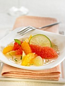 Citus fruit salad with mint syrup