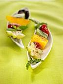 Grilled fruit brochette