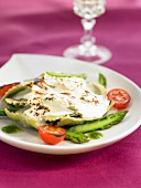 Vegetable raviolis creamy cheese topped-dish