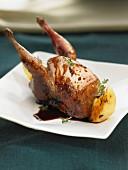 Roast quail with Port sauce