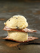 Stracciatella ice cream on wafers