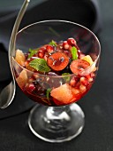 Cherry, grapefruit and pomegranate fruit salad with lavander