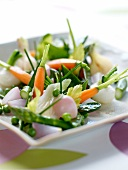 Mixed cooked spring vegetables