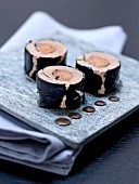 Foie gras makis with coffee sauce