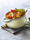 Small casserole dish of vegetables with cardamom