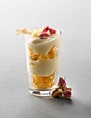 Crisp filo pastry, rose-flavored cream and crystallized rose petal mille-feuille Verrine