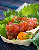 Salmon Tartare with mint and salmon roe